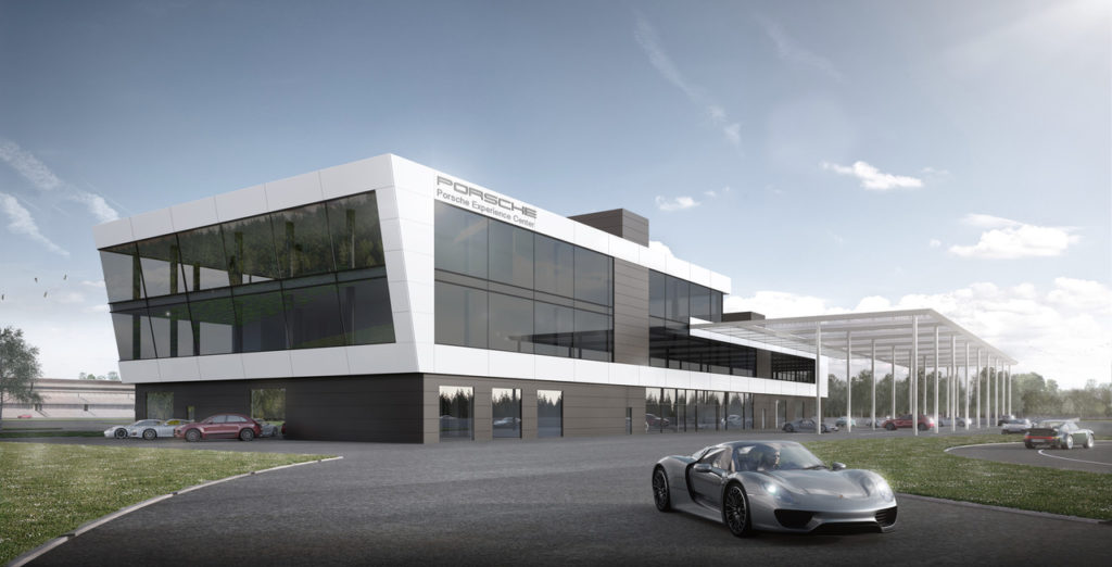 Rendering des Porsche Experience Centers am Hockenheimring